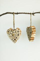 cut pieces of wood inside cookie cutter and glued - crafts for kids?