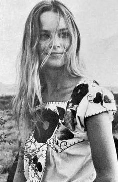 """My favorite picture of Michelle Phillips, wearing a Mexican peasant blouse.  Husband John referred to her as his """"Mexican gypsy princess."""""""
