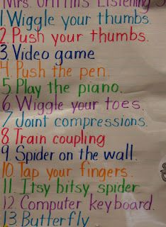 """Do your students get the """"wiggles"""" during group time?  Here is an anchor chart that I made with strategies I created to help my students get rid of those wiggles."""