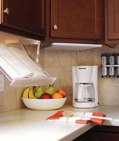 Retractable book stand for cook books in the kitchen!