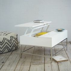 love this storage coffee table in white lacquer! // West Elm // #furniture #white #storage