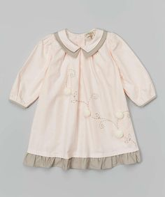Loving this Pink & Gray Embroidered Dress - Toddler & Girls on #zulily! #zulilyfinds