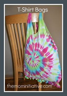 T-shirt bags. Easy to make, no sewing. #diy #crafts, #bags