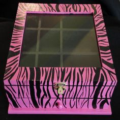 Pink and Black Zebra Print Jewelry and Keepsake Box - perfect for girls and adults, storage compartments, bedroom or bathroom. $40.00, via Etsy.