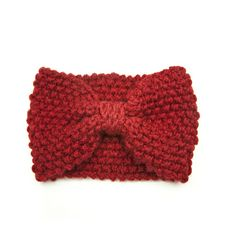 [Headband bandeau laine noeud rouge]