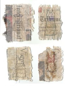 Dresses - stitched on tea bags and news - Ines Seidel