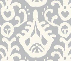 gray cream ikat fabric by domesticate on Spoonflower - custom fabric