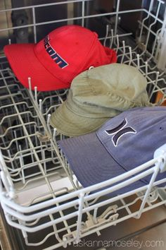 Throw smelly hats into the dishwasher to get them clean in a snap.