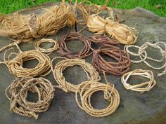 Natural cordage/rope made from plant fibers and tree barks...