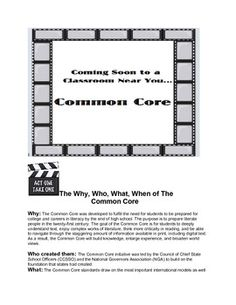 The why and what of the Common Core is presented in this brief document. This document was created to share as an introduction to the Common Core. ...