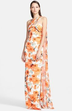 St. John Collection Poppy Print One-Shoulder Silk Charmeuse Gown | Nordstrom