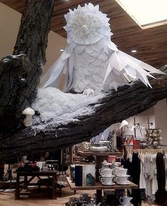 Anthropologie Paper Owl display - not a window, but in-store. So cool!