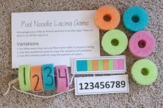 Here is another idea using  pool  noodles! How easy and educational is this?! Can do patterns, number sequencing and so much more.