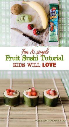 Looking for a healthy party treat? Try fruit sushi for your next birthday party. Perfect Panda Party Food. See how easy it is to make at PartiesWithACause.com #pandaparty #kidspartyideas #partyfood #lowsugarparty #healthyparty #pandapartysnacks #partytreats