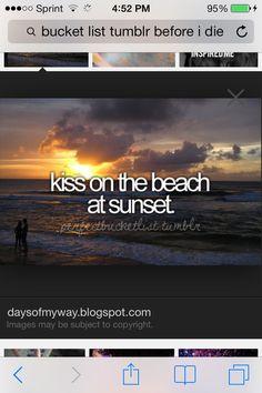 bucketlist, first kiss, sunset, beach, bucket lists