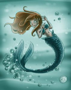 Cow Shell Graphics · a little mermaid drawing