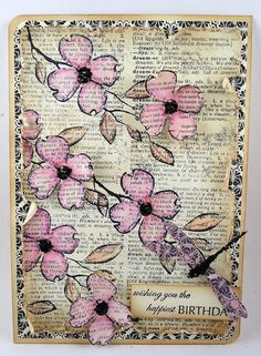 spring flowers, pink flowers, art journal, pink blossom, stamp spot, suzann stamp, journal pages, old cards, cherry blossoms