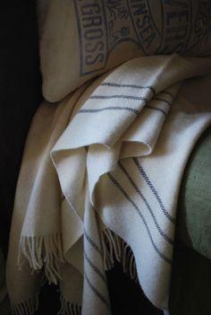 Damson & Slate Barney Woven Welsh Wool Blanket in the Black Stripe