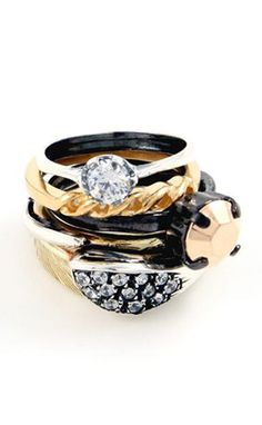 black and gold rings