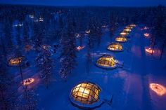 Igloo Hotel, Finland. Rent an igloo and watch the Northern Lights in Bed.  What an idea!