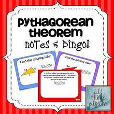 Pythagorean Theorem - Notes & Bingo Game!