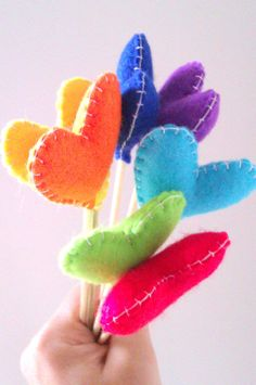 Wedding/party table decoration - set of 7 heart flowers - heart, rainbow, colorful, flower bouquet