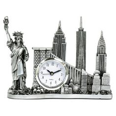 Freedom Tower NYC Skyline Model Desk Clock. NYCwebStore.com - Silver New York Landmarks Clock (http://www.nycwebstore.com/silver-new-york-landmarks-clock/) Silver New York Landmarks Clock   This elegant statue features New York's Landmarks including the Statue of Liberty, Empire State Building, Chrysler Building, Brooklyn Bridge and the new Freedom Tower also serves as a clock.