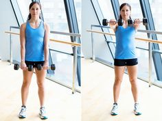 Work your shoulders and abs with dumbbell front raises. #exercise #workout #fitness