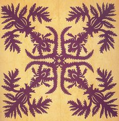 Lei O Ka'ahumanu Quilt (ca. 1880).The quilt design is named after Lei O Ka'ahumanu (one of the 21 wives of King Kamehameha I, the founder of the Hawaiian kingdom.  Posted by Marie-Therese Wisniowski at Art Quill
