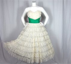 White & Green Tiered Gown