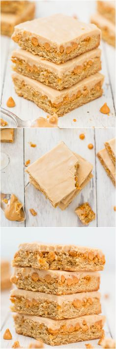 Peanut Butter Butterscotch Bars - Soft, chewy bars loaded with butterscotch! The satiny smooth peanut butter frosting is amazing!