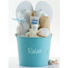 "Cute container for a pedicure basket. ""Beach Feet"""