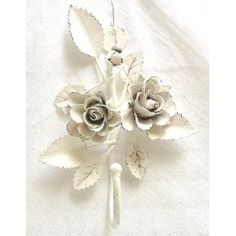 Shabby Cottage Metal Rose Decor Wall Hanging~Bedroom~Bath~Kitchen~Coat ~Wall Hooks~RH12