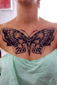 butterfly chest tattoo