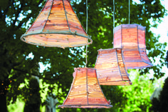 Lovely fabric strip lampshades. Perfect for a shabby chic bedroom or a spring event.