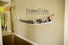 Photo display on clothes line - easy to swap out and keep fresh
