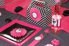 black-fuschia-white-party-table-setting