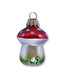 Blown Glass Mushroom Ornament