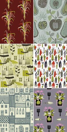 At True Up, a roundup of midcentury textile designs. These are by Sylvia Chalmers. L-R: Grasses, Fruit, Penang, Uno, Village, Flowerpots