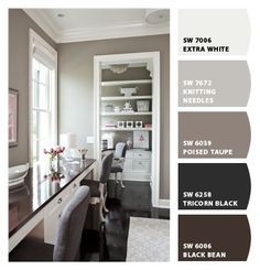 Found the Paint color!! Poised Taupe by Sherwin-Williams – greys and browns Knitting Needles, Grey Walls, Color Palettes, Color Schemes, Room Colors, Offic, Paint Colours, Master Bedrooms, Paint Colors