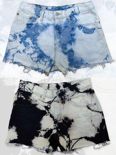 Bleach-dyed denim shorts