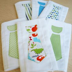 baby boy necktie burp cloths - LOVE!
