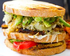 Tempeh Reuben Club Sandwich. Split a sandwich tonight..