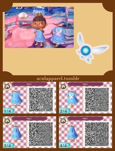 A collection of Animal Crossing New Leaf Legend of Zelda qr codes.  Follow the link for Link, Zelda, Malon, Goron, and more clothing codes.