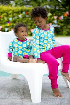maxomorra organic turquoise daisy tunic top & baby vest