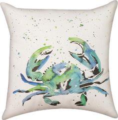 Handpainted Crab Indoor/Outdoor Pillow