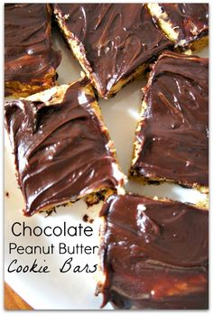 #Recipe for Chocolate Peanut Butter Cookie Bars... Easy made with a cake mix!
