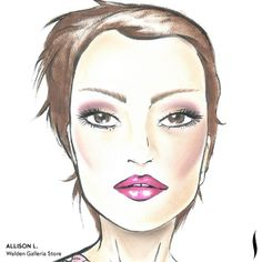 Winning SEPHORA + PANTONE UNIVERSE Face Chart Artistry Competition. Face chart designed by Allison L. of Walden Galleria Store. #Sephora #makeup #inspiration