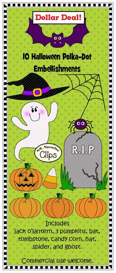 Dollar Deal! 10 Halloween embellishments for you products. All filled with polka-dots! $1 http://www.teacherspayteachers.com/Product/Clip-Art-Halloween-Polka-Dot-Embellishments-734853