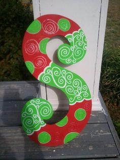 Whimsical Glittery Christmas Wooden Door by PolkaDotsDaisyCrafts, $25.00